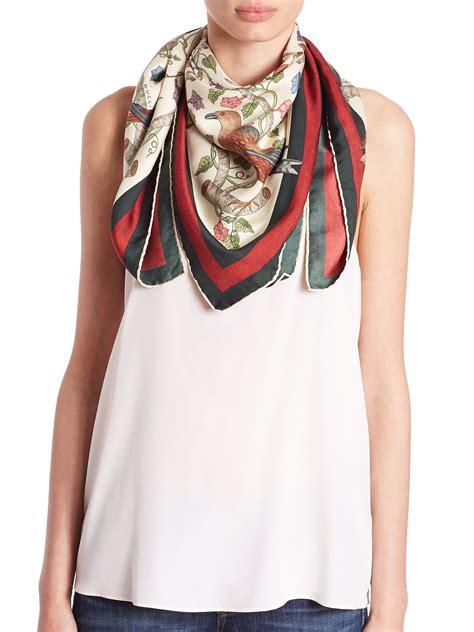 gucci condor print silk foulard scarf  red lyst