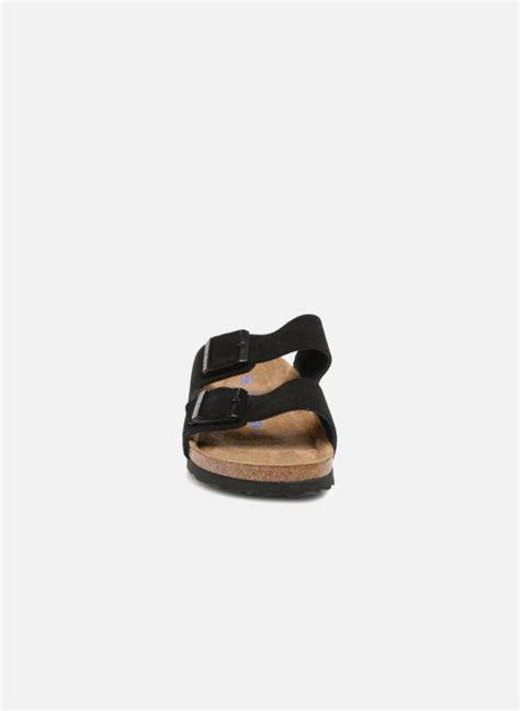birkenstock arizona cuir suede soft footbed  schwarz