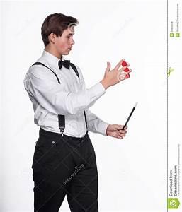 A Magician Holding Magic Balls And Wand Royalty Free Stock ...