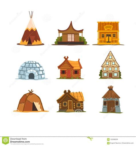 Traditional Buildings Of Different Countries Set Houses