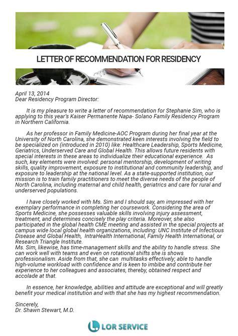 time resident director cover letter residency letter of recommendation sle lor