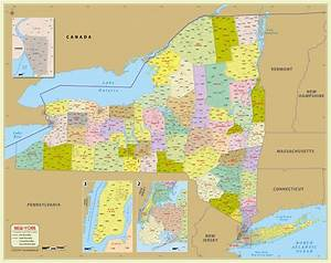 Buy New York Zip Code Map With Counties (48″ W x 38″ H)