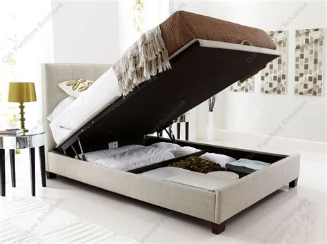 Fabric Storage Bed by Kaydian Walkworth Oatmeal Fabric Ottoman Storage Bed 2