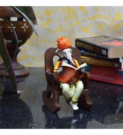 buy ecraftindia lord ganesha reading book  wooden chair