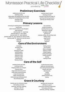 Montessori Pracitcal Life Checklist