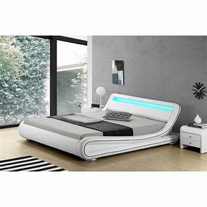 soon blanc lisere noir led 140x190 cm achat vente lit With déco chambre bébé pas cher avec matelas sciatique