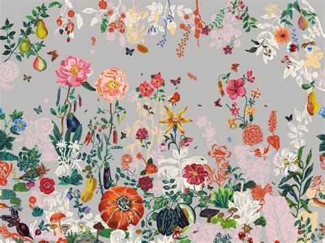 Wandgestaltung Kinderzimmer Blumen by Blumen Tapete Jardin Gris By Moustache Design Nathalie
