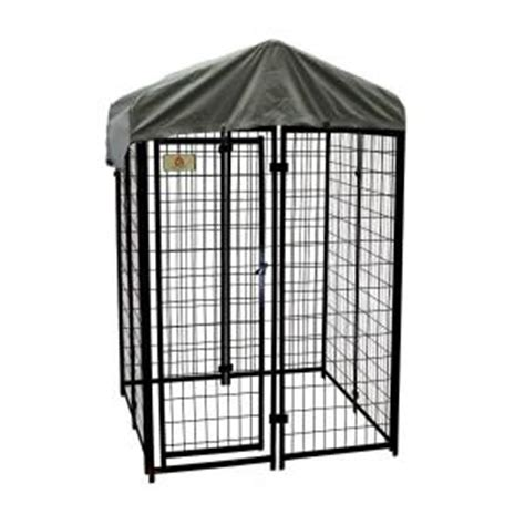 kennelmaster 4 ft x 4 ft x 6 ft welded wire fence kennel kit k644wwbl c the home depot
