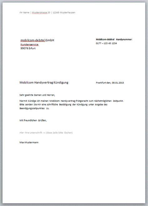 handyvertrag kuendigungschreiben kostenlose vorlagen