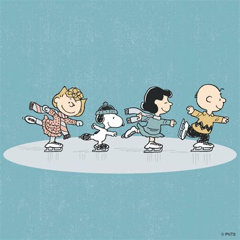ice skating peanuts gang peanuts characters snoopy