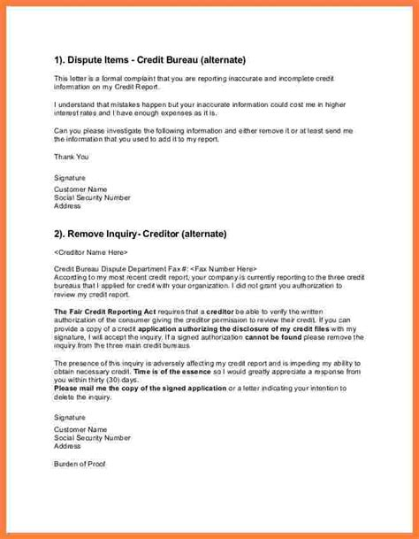 sle credit dispute letter sle letter to creditors to remove from credit report 28