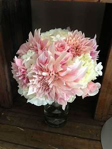 Light pink dahlia bouquet with hydrangea and stephanotis ...