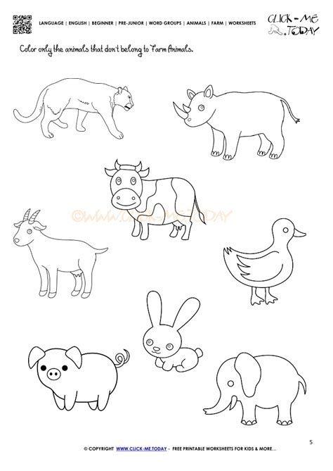 farm animals worksheet activity sheet 5