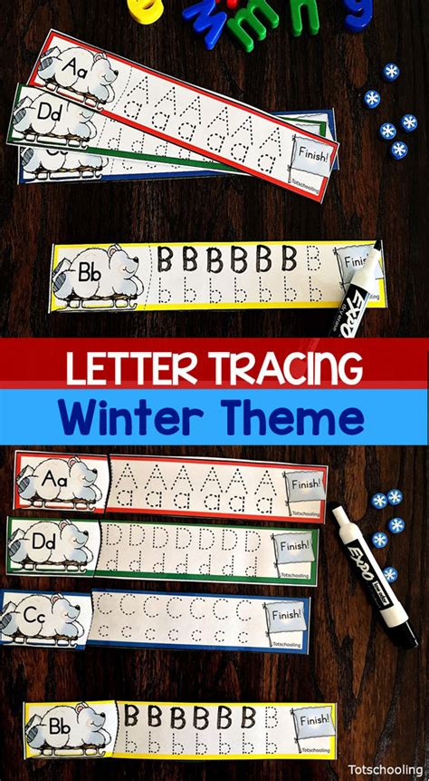winter letter tracing cards totschooling toddler