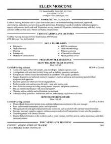 sle resume objectives for nursing assistant cna resume sles best business template