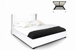 Coffre Lit 160x200 : lit coffre simili cuir blanc rabatya 160x200 cm lit design pas cher ~ Teatrodelosmanantiales.com Idées de Décoration