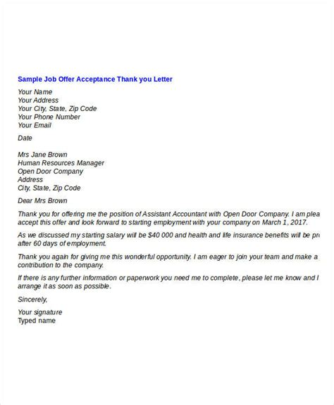 job offer acceptance letter exle icover org uk job offer thank you letter template 7 free word pdf