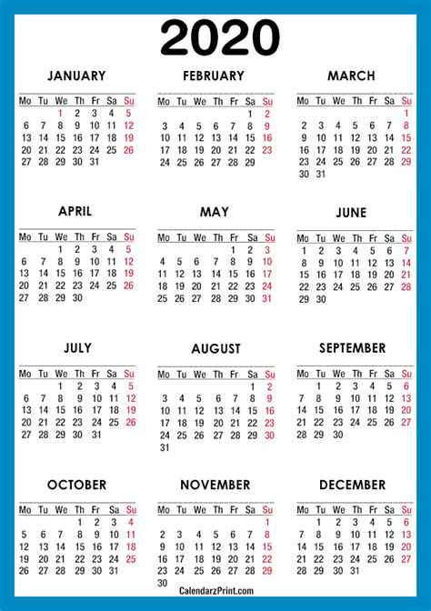 calendar  paper size printable  blue