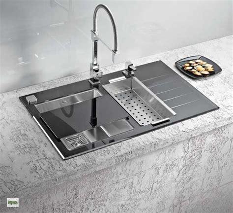 glass kitchen sink luxus einbausp 252 le crystalix 20 edelstahl glas 1234