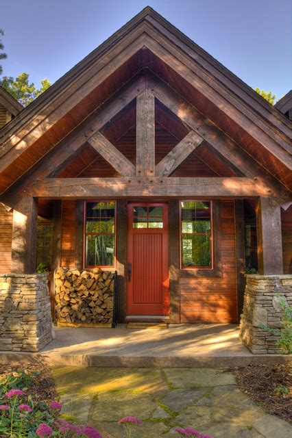 Decorative Craftsman Lodge House Plans by Thunder Lake Entry