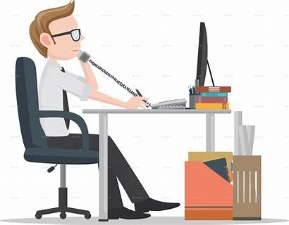 Office Clipart Desk Workers Worker Male Transparent