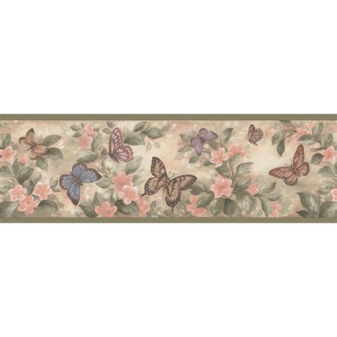 wallpaper borders bathroom ideas brewster pastel butterflies wallpaper border sle