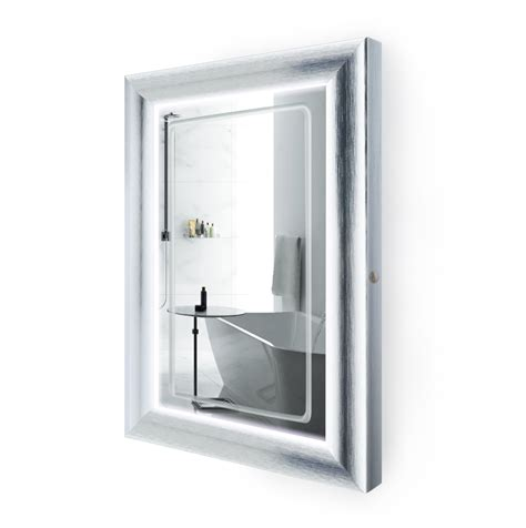 led lighted      bathroom silver frame mirror