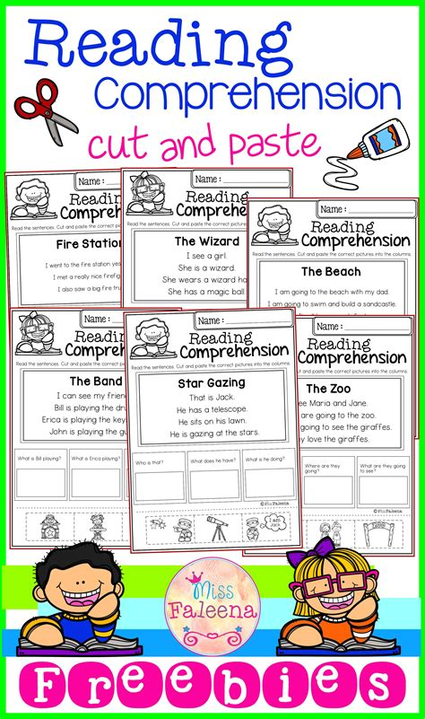 free reading comprehension cut and paste miss faleena s