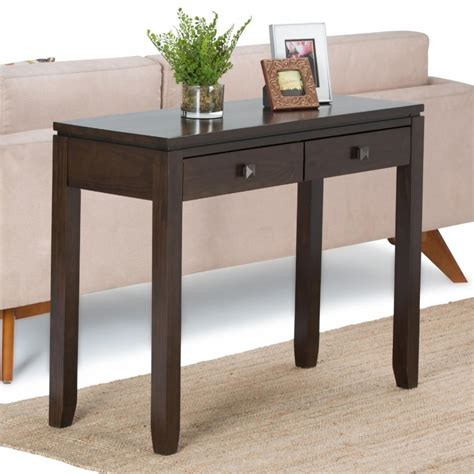 Wooden coffee table with second ledge. Brooklyn & Max Cosmopolitan 2 Drawer Console Table, Coffee Brown | eBay