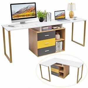 Gymax, 87, U0026, 39, U0026, 39, Two, Person, Computer, Desk, Adjustable, L, Shelves, U0026, Drawers