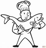 Coloring Trout Pages Fish Cook Chef Nurse Holding Brook Clipart Professions Needle Drawing Preschool Printable Cooking Clip Factory Getcolorings Getdrawings sketch template