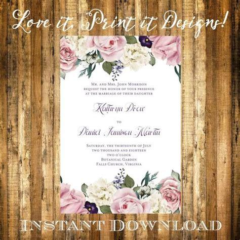 wedding invitation  bridal shower diy template vintage
