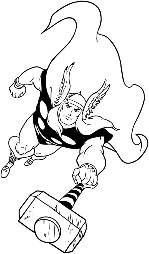 thor drawing coloring pages