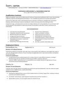 continuous improvement manager resume sle continuous improvement director 09 01 2009