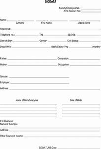 Bio Data Form Printable – Word Templates Docs