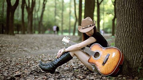 lonely girl  guitar  forest wallpapers