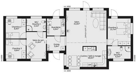 plan maison bois plain pied 4 chambres plan maison ossature bois 4 chambres