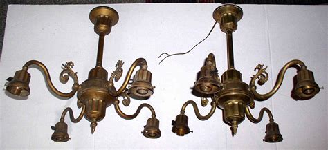 pair antique brass ceiling light fixtures chandeliers
