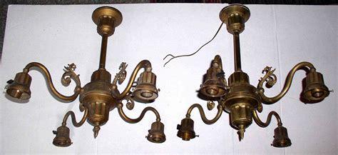 pair antique brass ceiling light fixtures chandeliers