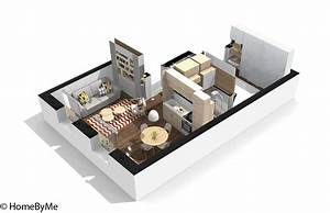plan appartement petite surface With plan d appartement 3d 1 plan de maison 60m2 3d