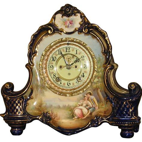 royal blue furniture ansonia royal bonn china porcelain clock sold on