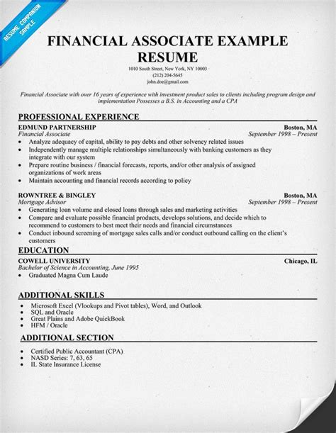 financial associate resume resume sles across all