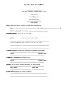 Resume Filler Content by Fill In Resume Template Filling Out Resume Resume Cv Cover