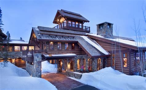 mountain chalet with elevator and ski room modern house designs