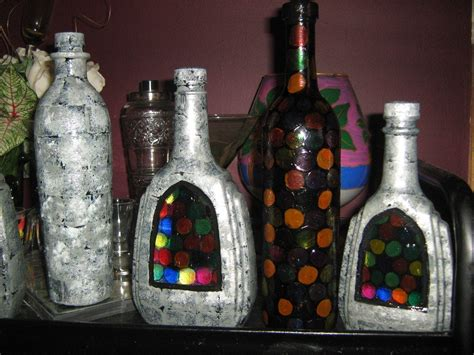 brick  stained glass faux upcycled bottles  storage