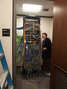 Network Routing Rack In Electrical Closet