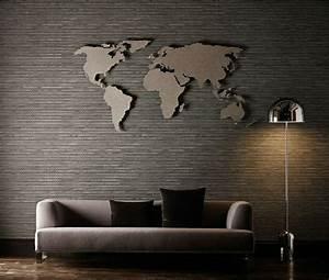 Wand im wohnzimmer weltkarte als wanddeko wall for Balkon teppich mit tapeten poster bilder