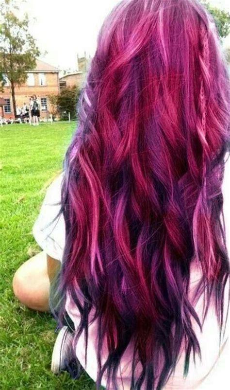 Red Pink Purple Black Hair Color Hair Ideas Pinterest