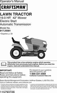 Craftsman 917255810 1510114l User Manual Tractor Manuals