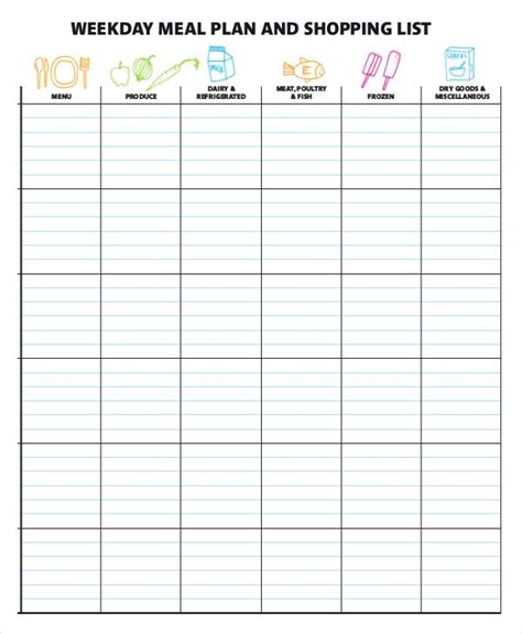 Meal Planner Template Word by Meal Plan Templates 21 Free Printable Word Excel Pdf